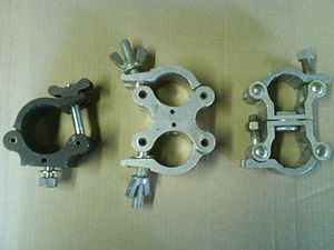 C-Clamp (stagecraft) - Assorted cheseborough, from left: A half, swivel, scaffold clamp.