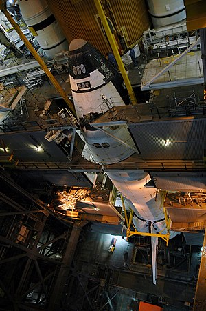 STS-115 - Atlantis, shown in the VAB, ready to be mated to the external tank