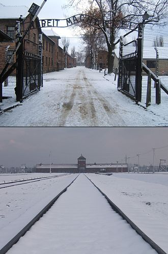The Holocaust in Poland - Top: entrance to Auschwitz camp I, with gate sign, Arbeit macht frei. Bottom: the real death factory at nearby Auschwitz II–Birkenau