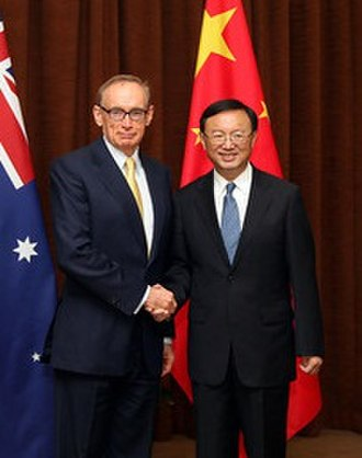 Bob Carr - Carr with China's Foreign Minister Yang Jiechi, Beijing, May 2012