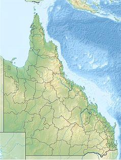 """Mapa konturowa Queenslandu, w prawym dolnym rogu znajduje się punkt z opisem """"Brisbane"""""""