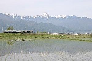 Ōito Line - A JR East E127 series EMU in Azumino