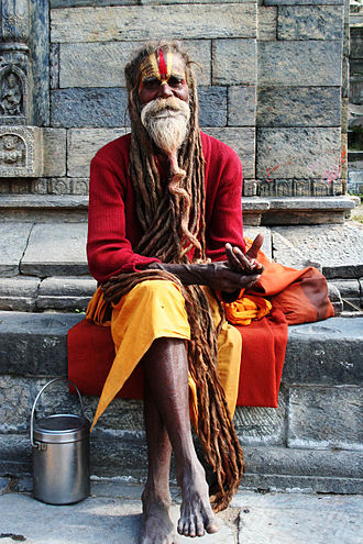 Sadhu - A Vaishnava sadhu in Kathmandu, with a Urdhva Pundra mark on his forehead.
