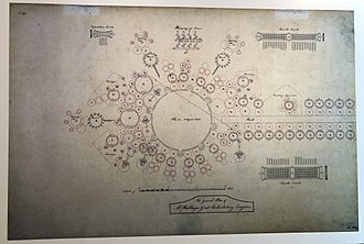 Analytical Engine - Plan diagram of the Analytical Engine from 1840