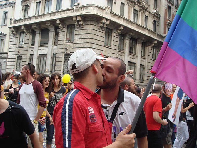 A kiss at the local Gay Pride march in Milan, ...