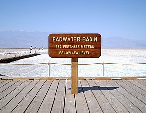 Badwater Basin elevation sign.