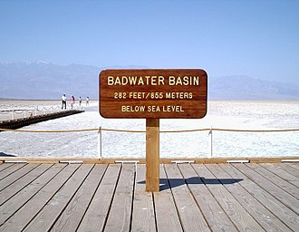 Inyo County, California - Image: Badwater elevation sign