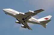 Bahrain Royal Flight Boeing 747SP climbing. The undercarriages have not yet fully retracted.