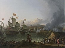A painting by Ludolf Bakhuizen of the Battle of Vigo Bay: multiple sailing ships shell the port of Cádiz as troops land ashore.