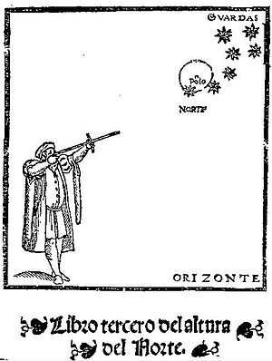 Pedro de Medina - Cross-staff in Regimento de Navegación by Pedro de Medina, 1552. A goniometric instrument used to measure the altitude of stars.
