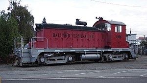 """Ballard Terminal Railroad - The EMD SW1 locomotive operated by the Ballard Terminal Railroad, nicknamed """"Li'l Beaver."""""""