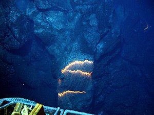 Submarine volcano - Image: Bands of glowing magma from submarine volcano
