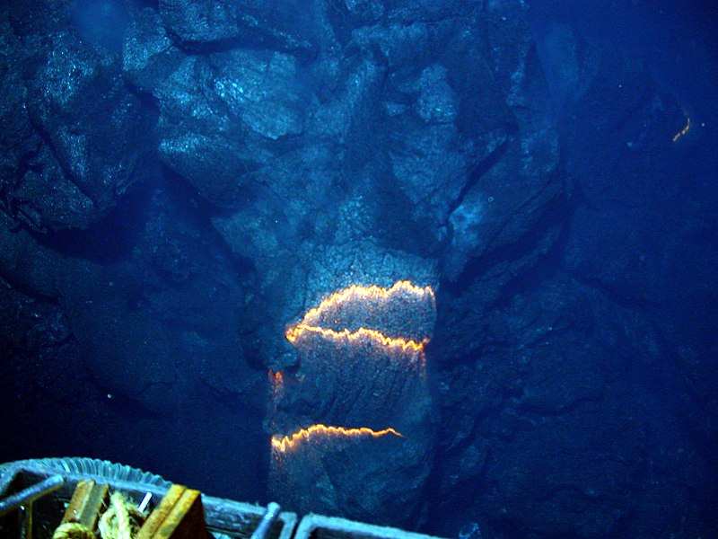 Picture of underwater lava. Credits to NOAA