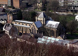 Bangor Cathedral - Image: Bangor Cathedral from Bangor Mountain