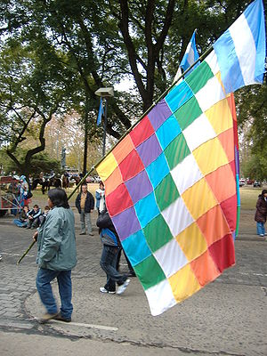 Wiphala - Wiphala on the Flag Day 2007 parade in Rosario, Argentina.