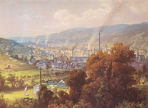 Textile manufacture during the Industrial Revolution - Early industrialised region at Barmen in the Wupper Valley, 1870 - painting by August von Wille
