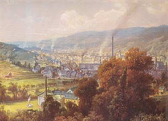 Textile manufacture during the British Industrial Revolution - Early industrialised region at Barmen in the Wupper Valley, 1870 - painting by August von Wille