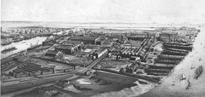 Port of Barrow - The Port of Barrow and the town's shipyard about 1890