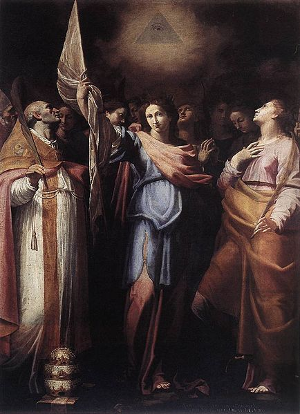 File:Bartolomeo Cavarozzi - St Ursula and Her Companions with Pope Ciriacus and St Catherine of Alexandria - WGA04608.jpg
