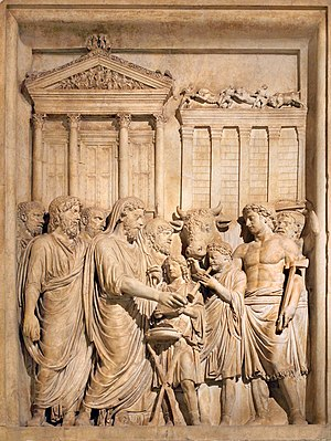 Civil religion - The emperor Marcus Aurelius, his head ritually covered, conducts a public sacrifice at the Temple of Jupiter