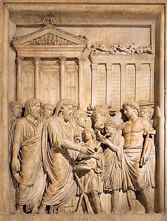 Temple of Jupiter Optimus Maximus - Relief of Marcus Aurelius sacrificing at the fourth temple.