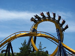 Batman: The Ride - A vertical loop and zero-G roll on the ride at Six Flags Great America