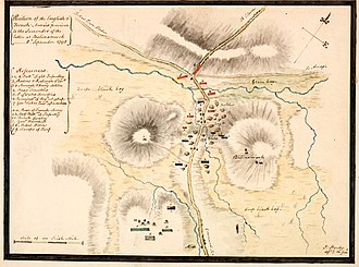 Battle of Ballinamuck - Contemporary plan of the Ballinamuck battle-ground, marking the positions of the opposing forces