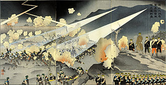 """Battle of Nanshan - Ukiyo-e print labeled: """"In the Battle of Nanshan Our Troops Took Advantage of a Violent Thunderstorm and Charged the Enemy Fortress"""" by Kobayashi Kiyochika, 1904"""