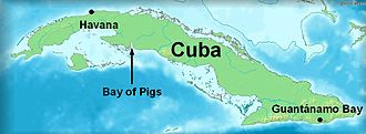 Bay of Pigs Invasion - Map showing the location of the Bay of Pigs