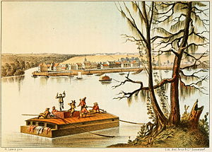 West Feliciana Parish, Louisiana - Bayou Sara seen from the Mississippi, late 1840s; St. Francisville on the rise in the background.