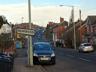 Bearwood, West Midlands - Bearwood sign on Portland Road looking towards Cape Hill, Smethwick.