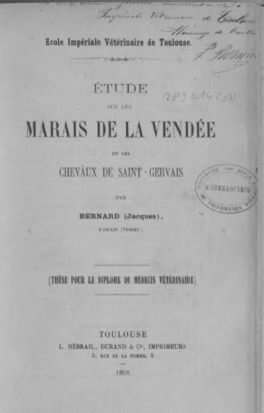 File:Bernard - Étude sur les marais de la Vendée et les chevaux de Saint-Gervais.djvu