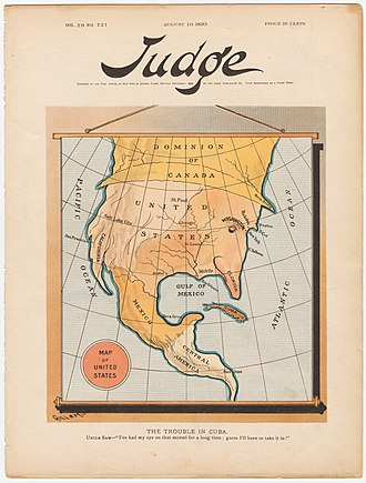 """Propaganda of the Spanish–American War - A satirical map, titled """"The trouble of Cuba"""" (1895) by Bernhard Gillam, reflecting the American sentiment towards Cuba, three years before the beginning of the Spanish–American War."""