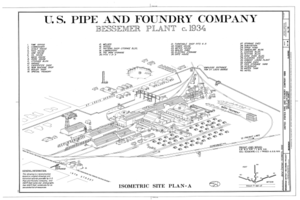Bessemer Plant c. 1934 - United States Pipe and Foundry Company Plant, 2023 St. Louis Avenue at I-20-59, Bessemer, Jefferson County, AL HAER ALA,37-BES,6- (sheet 3 of 16).png