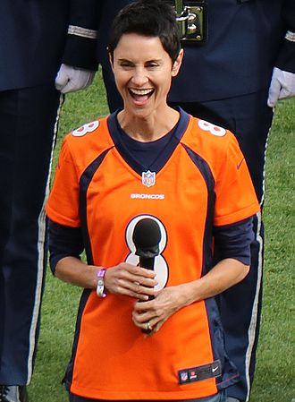 """Beth Malone - Malone about to sing """"The Star-Spangled Banner"""" at Mile High Stadium, October 2016."""