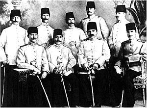 Military career of Mustafa Kemal Atatürk - Ottoman officers of the Fifth Army at Beirut. Mustafa Kemal Atatürk is sitting on the left in the front row.