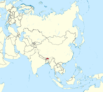Bhutan in Asia (-mini map -rivers).svg