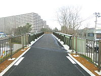 Bicycle road, Remains of Higashiaoyama Station, Niigata Kotsu Railway, December 2012.jpg