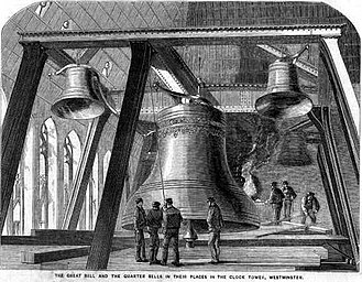 "Big Ben - The second ""Big Ben"" (centre) and the Quarter Bells from The Illustrated News of the World, 4 December 1858"