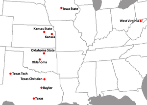 Big 12 Conference football - Locations of Big 12 conference member institutions as of 2012.