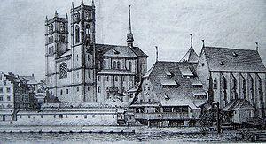 Wasserkirche - Grossmünster, Helmhaus and Wasserkirche in Zürich (1770)