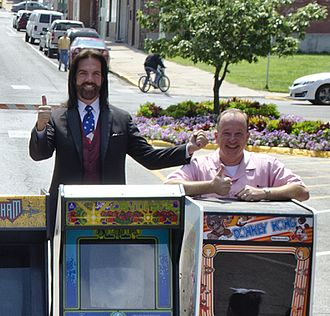 U.S. National Video Game Team - Billy Mitchell and Steve Sanders outside the original Twin Galaxies arcade location in Ottumwa Iowa, 2014