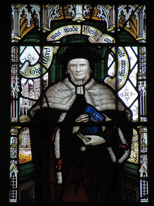 Brooke Foss Westcott - Bishop Westcott shown standing in front of Durham Cathedral in a window in All Saints Church, Cambridge.