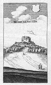 Burg Blankenstein – Auszug aus der Topographia Hassiae von Matthäus Merian dem Jüngeren 1655