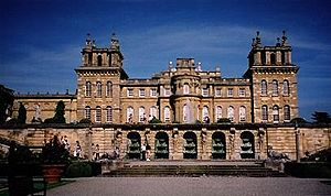 """Blenheim Palace (""""John Vanbrugh's castle air"""") West facade showing the unique severe towering stone belvederes ornamenting the skyline."""