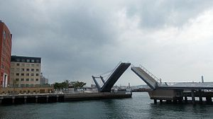 Moji-ku, Kitakyūshū - Blue Wing, a unique pedestrian drawbridge