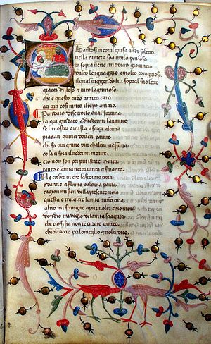 "A page of illuminated manuscript. A picture is drawn in the loops of the ""S"" that opens the text. The theme round the edge of the page includes berries and birds with intertwined necks."