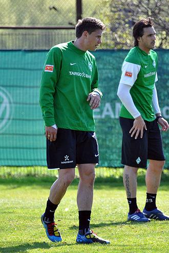 Sebastian Boenisch - Boenisch during Werder Bremen's training on 23 April 2010.