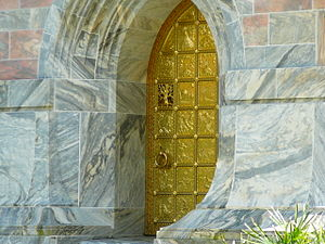 Bok Tower Gardens - The ornate brass door leading into Bok Tower and details of its stonework