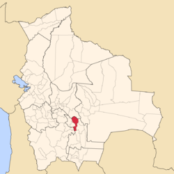 Location of Jaime Zudáñez Province within Bolivia
